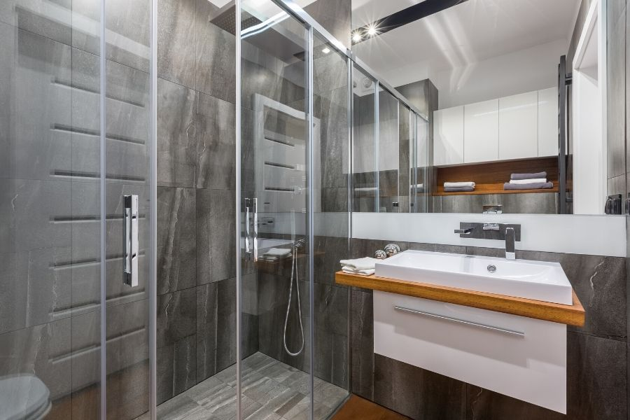 Modern bathroom with clean shower glass